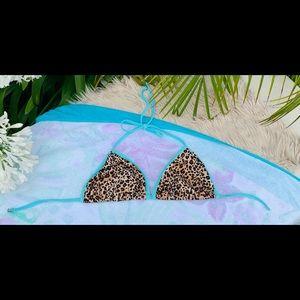 Victoria's Secret String Bikini Top Leopard